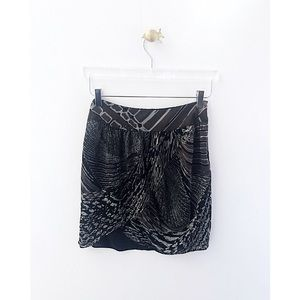 halston heritage / snakeprint silk mini skirt